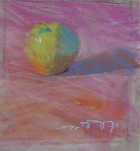 "Apple; pastel on paper; 7.75""x9"""