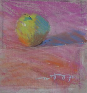 "Apple; pastel on paper; 7.75""x9"""