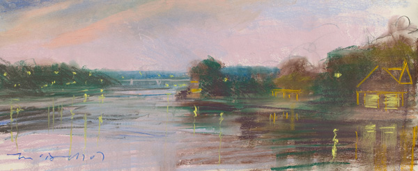 Boat House Row (II); pastel on paper