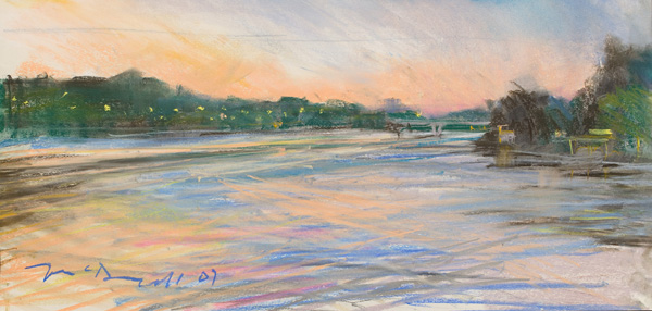 """Boat House Row (III); pastel on paper; 10.5""""x25"""""""