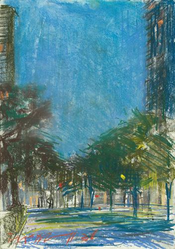 Rittenhouse Square SW; pastel on paper