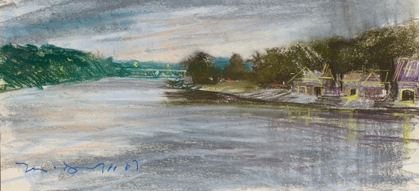 Boat House Row (I); pastel on paper
