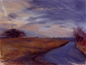 "Almost Dusk; pastel on paper; 19""x25"""