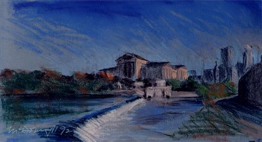 "Art Museum; pastel on paper; 13""x23"""