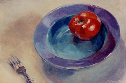 "Blue Bowl; oil on canvas; 12""x18"""
