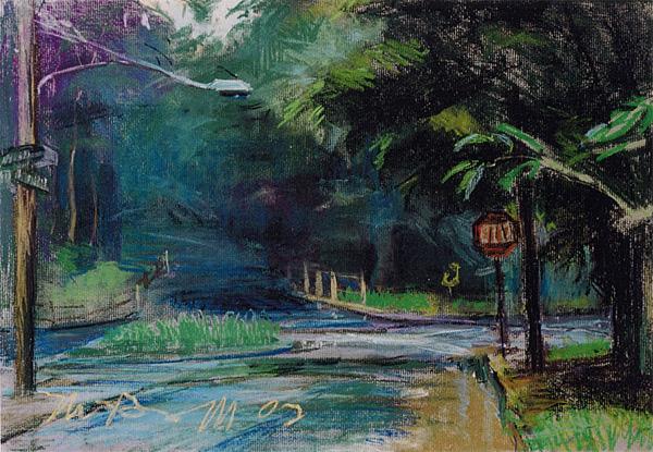 "Bridle Path; pastel on paper; 11.5""x17"""