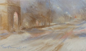 "Chestnut Hill Avenue; pastel on paper; 15""x26"""