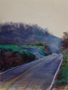 "Dawn on River Road; pastel on paper; 15""x11"""