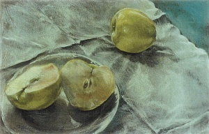 "Golden Delicious; pastel on paper; 12.5""x19.5"""