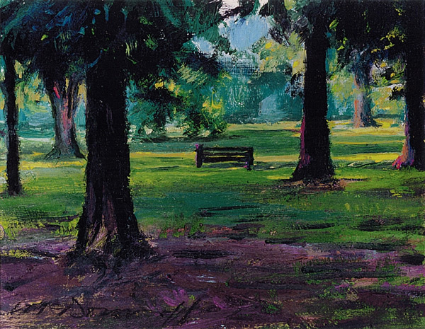 "Pastorius Park; oil on board; 6""x7"""