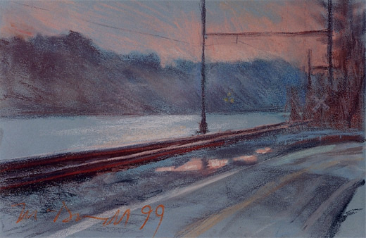 "River Road; pastel on paper; 11.5""x17"""