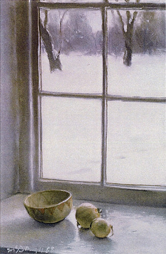 "Snowlight; pastel on paper; 26""x17"""