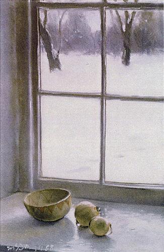 "Snowlight; pastel on paper; 26""x17"""
