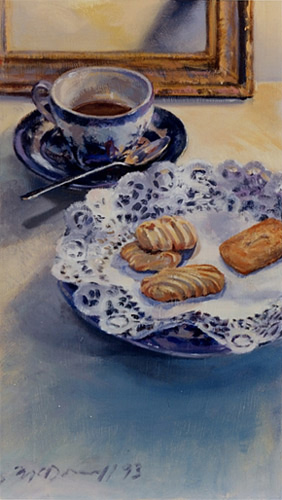 "Tea Time; oil on canvas; 21""x12"""