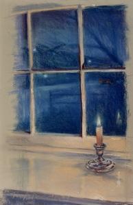 "Twilight; pastel on paper; 24""x13"""