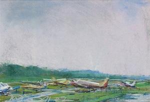 """Wings Field (II); pastel on paper; 11.5""""x17.5"""""""