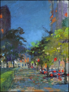 "Rittenhouse Square SW; mixed media on board, 12""x9"""