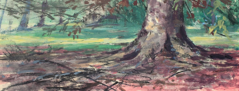 "Equinox on Spring Mill; mixed media on rag board; 18""x7"""